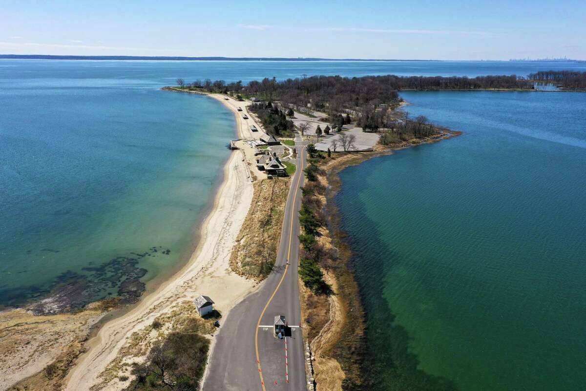 A drone view of Tod's Point in Greenwich, where there were 772 change-of-address requests from out-of-state residents between March and the end of May this year compared to 567 during that period in 2019.