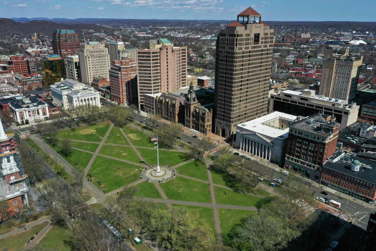 A drone view of New Haven Green in New Haven, where there were 135 change-of-address requests from out-of-state residents this year between March and the end of May compared to 75 during that period in 2019.