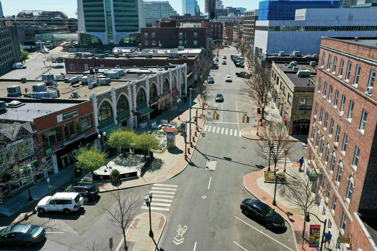 A drone view of Bedford Street in Stamford, where change-of-address requests surged to 1,105 from out-of-state residents between March and the end of May this year compared to 351 during that time in 2019.