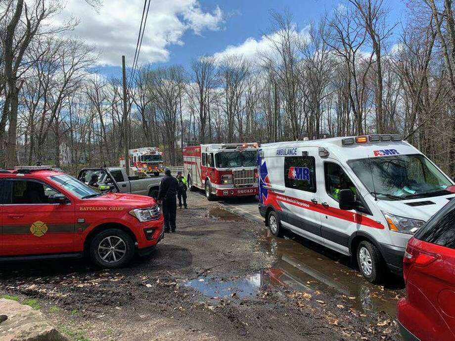 First responders on scene for an injured hiker at Sleeping Giant State Park in Hamden, Conn., on Saturday, April 11, 2020. Photo: Contributed Photo / Hamden Fire Department