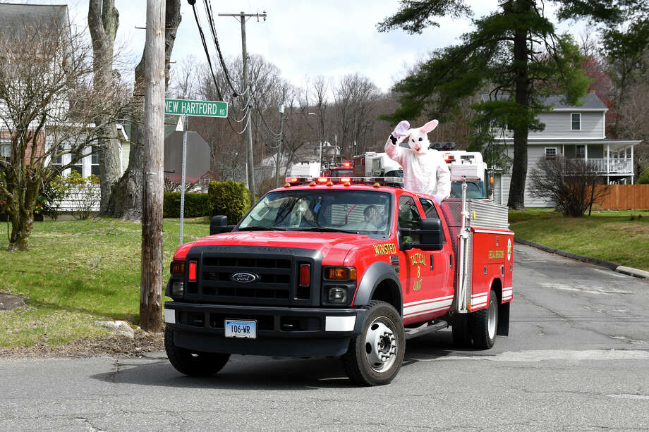 The Winsted Recreation Department along with the Winsted Fire Department and Ambulance got together to bring some joy to people of all ages, by having the Easter Bunny go all around town waving, on Saturday, April 11, 2020. Photo: Lara Green- Kazlauskas/ Hearst Media