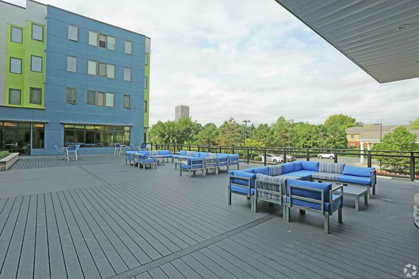 Photo outdoor recreation space at the Auden student apartments in Albany. (Provided by DMG Investments)