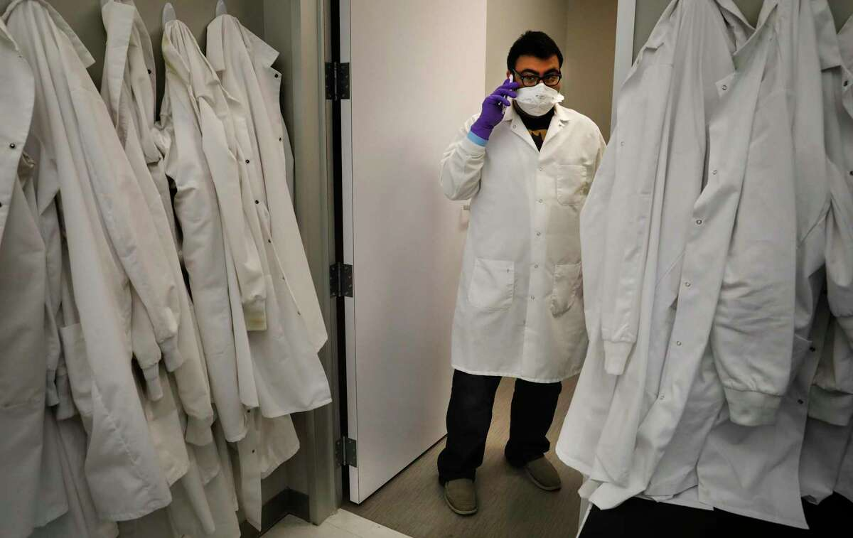 Juan Garcia Jr. is the lab manager in the Virology Lab at the UT Health RGV Clinical Lab on the campus of UTRGV in Edinburg, Texas, on Tuesday, April 7, 2020.