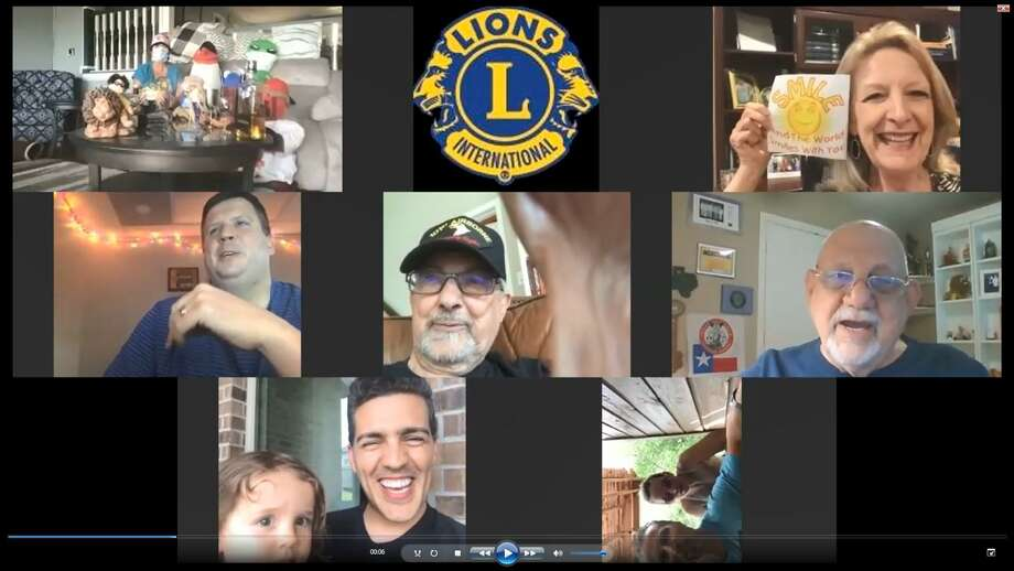 The Conroe Noon Lions Club has converted to a 'No Show Luncheon' each Wednesday on Facebook and each meeting still has a rousing rendition of the club song 'Smile'; pictured clockwise: Helen Thornton, Eddie Risha, Mike & Robin Sproba, Sergio Vaz Lopes and daughter, Warner Phelps, Anne Hoffman & friends, and Dick Giuffre, center. Photo: Courtesy Photo