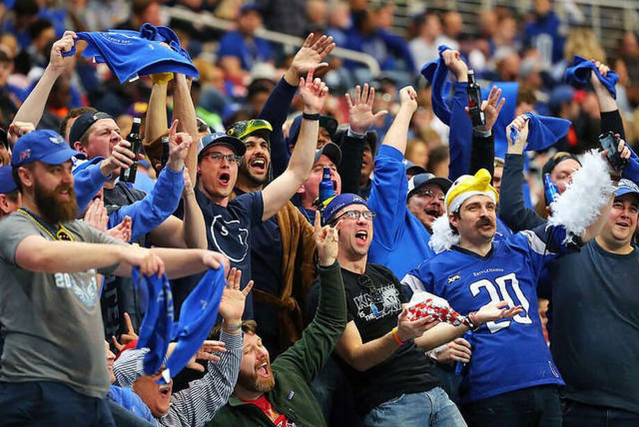 BattleHawks fans celebrate during an XFL game against Seattle at the Dome at America's Center. Photo: Hearst Illinois Staff