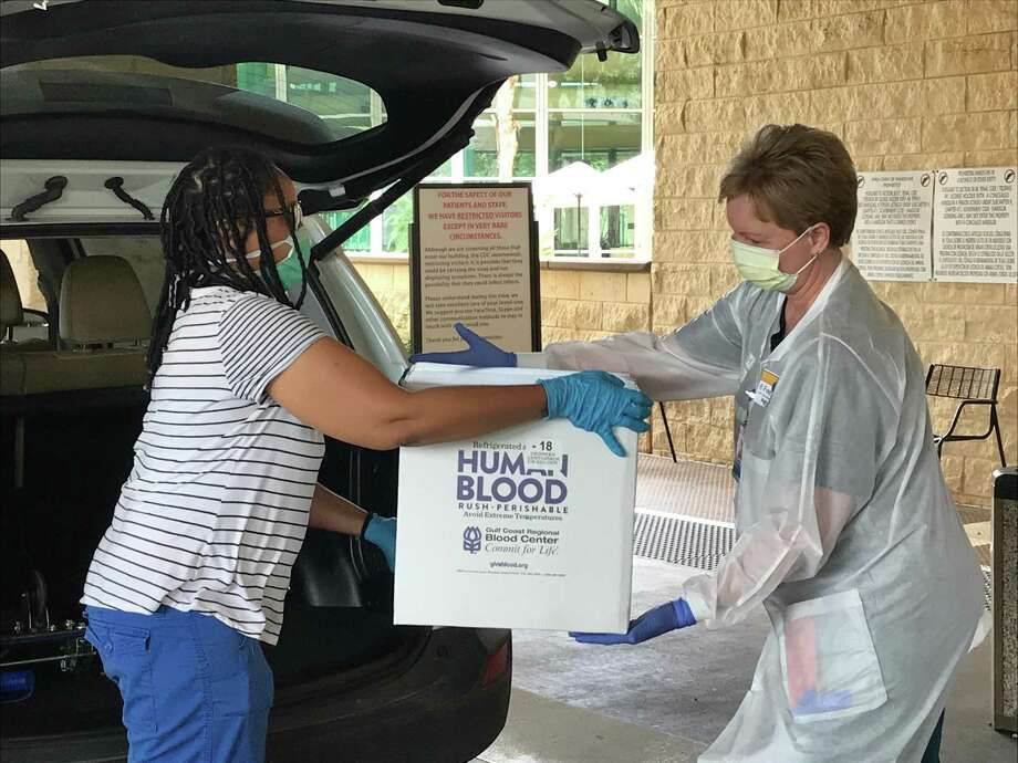 Physicians from Baptist Hospitals of Southeast Texas received rare plasma packets from Houston patients that contain antibodies expected to help critical patients at the Beaumont hospital recover from COVID-19. Photo: Courtesy Of Baptist Hospitals Of Southeast Texas