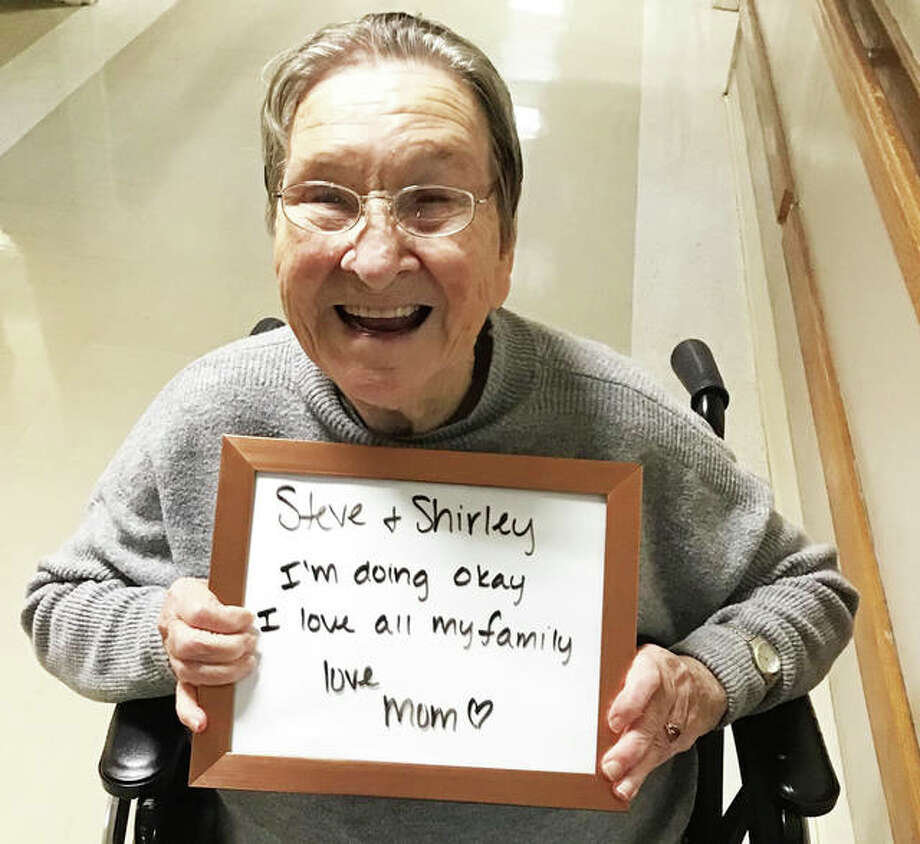 Integrity of Wood River resident Velda Ingles displays a message that was sent to her family via an iPad. Photo: Photo Courtesy Integrity Healthcare Of Wood River|For The Telegraph