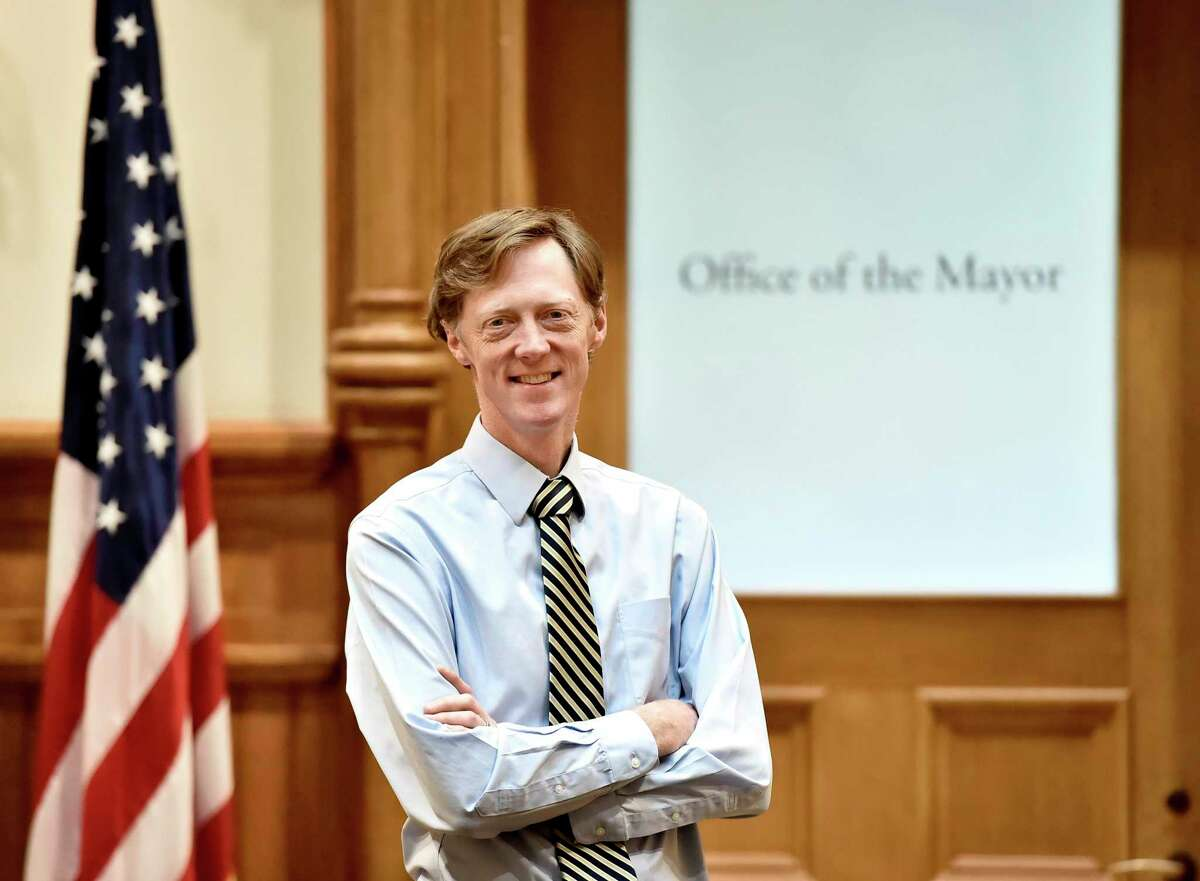 New Haven, Connecticut - Thursday, April 09, 2020: New Haven Mayor Justin Elicker at New Haven City Hall.