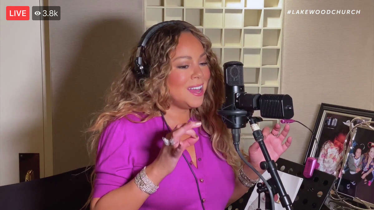 Mariah Carey performing from her home for Lakewood's virtual Easter service.