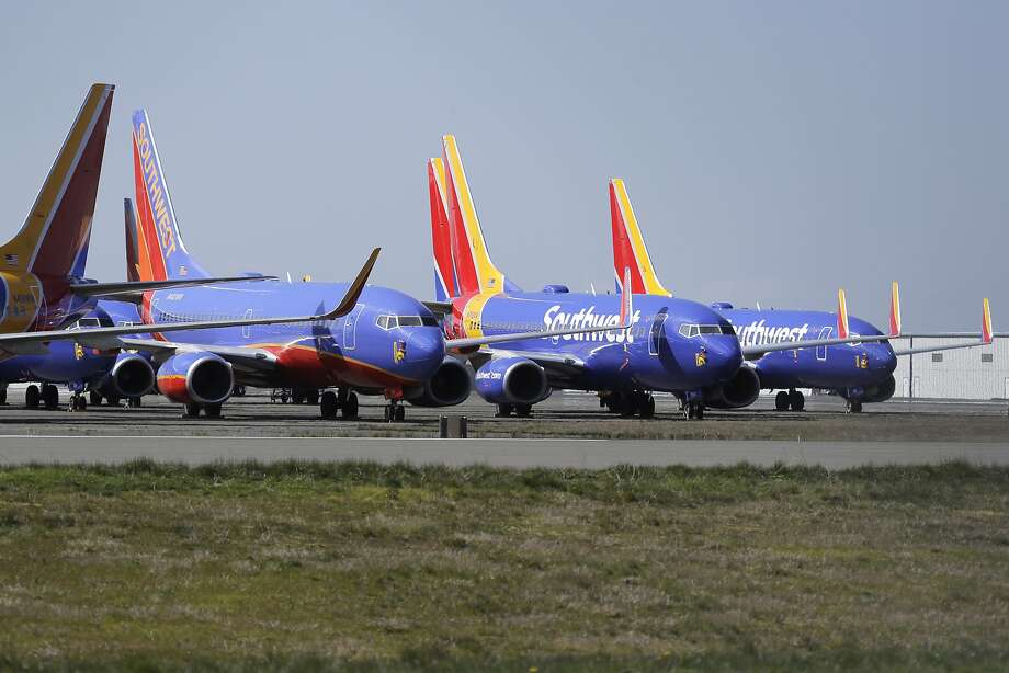 Southwest Airlines airplanes sit parked Tuesday, April 7, 2020, at Paine Field airport in Everett, Wash. A steep decline in travel due to the outbreak of the coronavirus has pushed airlines to cancel flights, run fewer planes and seek government aid. (AP Photo/Ted S. Warren) Photo: Ted S. Warren, Associated Press