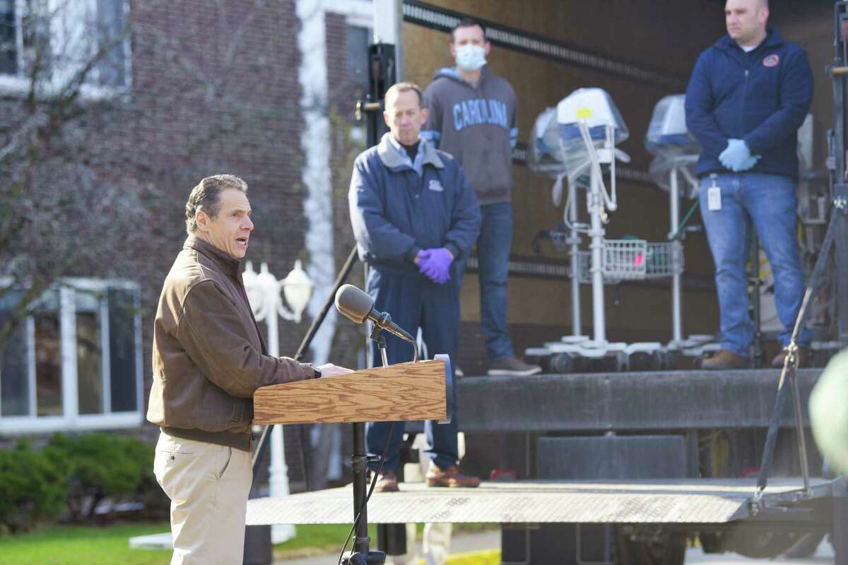 Governor Andrew Cuomo speaks at a press event at Pathways Nursing and Rehabilitation Center on Sunday, April 12, 2020, in Niskayuna, N.Y. The state was returning ventilators that the center had loaned out to help fill the need of ventilators during the pandemic. (Paul Buckowski/Times Union)