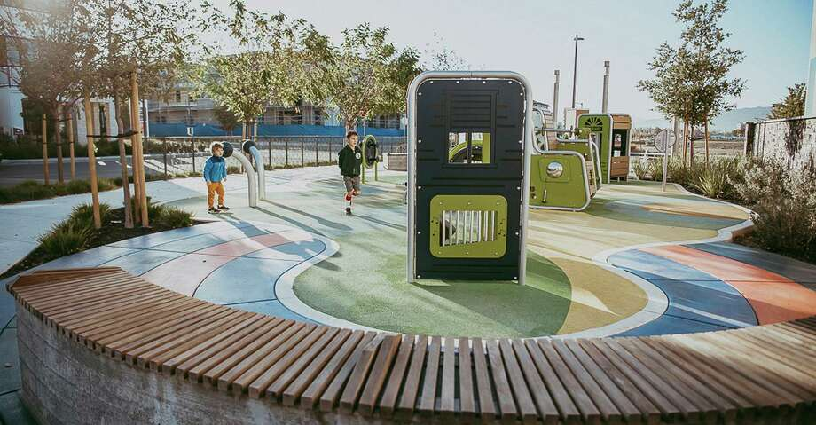 The parks at Dublin's Boulevard new home community, designed by San Ramon's Gates + Associates, have a variety of themes. This park's theme is music and includes interactive sound play elements. Photo: Photos By Gates + Associates