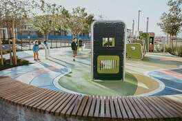 The parks at Dublin's Boulevard new home community, designed by San Ramon's Gates + Associates, have a variety of themes. This park's theme is music and includes interactive sound play elements.