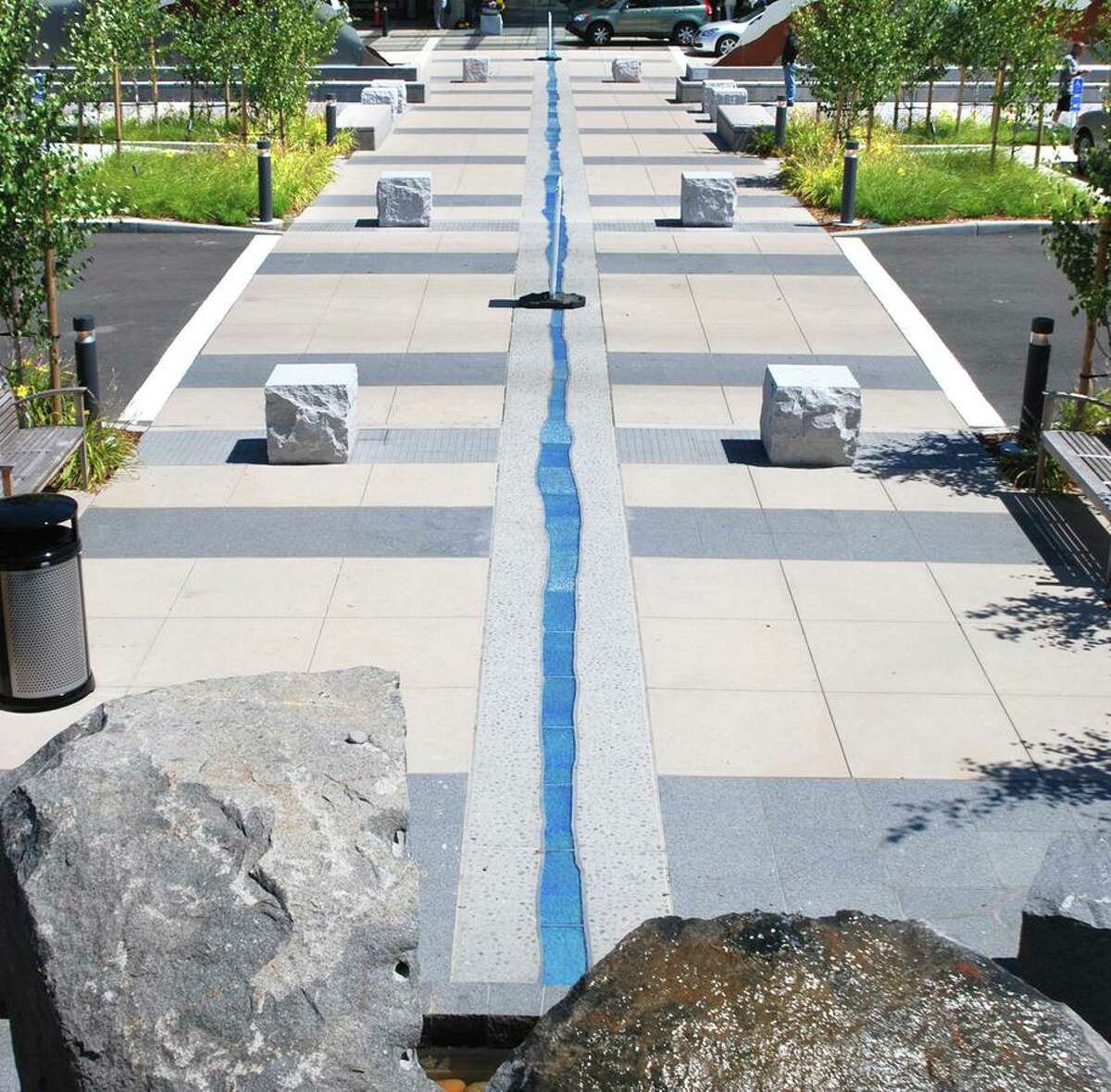 Gates + Associates, a landscape architecture firm based in San Ramon, used inlaid custom tile to create a calming water feature at the entry promenade of the John Muir Medical Center in Walnut Creek.