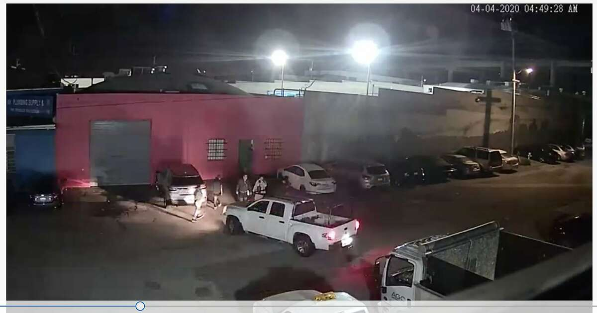 Surveillance video captures the activity outside a warehouse at 2266 Shafter Avenue, in San Francisco, Calif. on April 4, 2020. San Francisco Police report they conducted a raid at the warehouse during the evening of April 11, 2020, breaking up what they say was an underground nightclub operating in violation of the city, county and state shelter-in-place mandates designed to prevent the spread of coronavius.