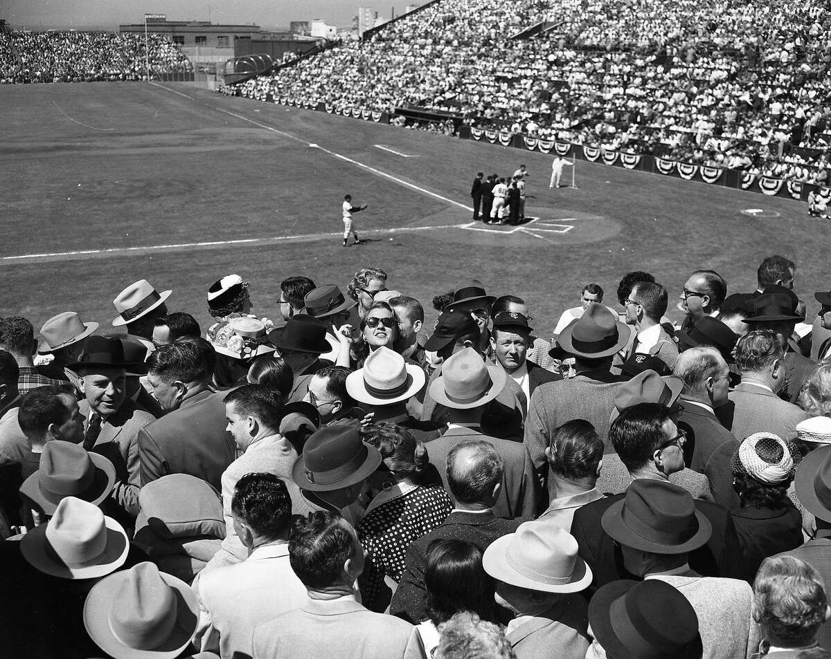 the crowd at the Giants opening game against the Dodgers, April 15, 1958