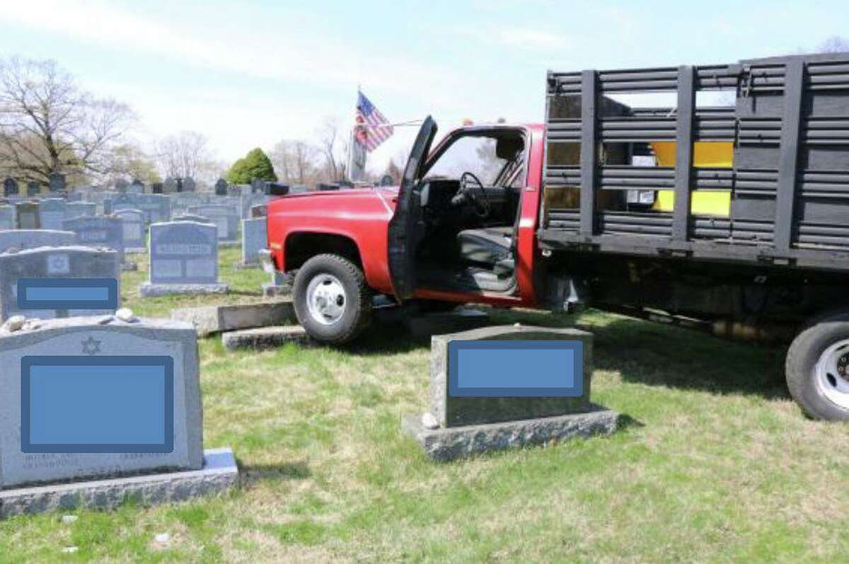 The truck allegedly stolen by two juveniles and driven through Agudas Achim Cemetery.