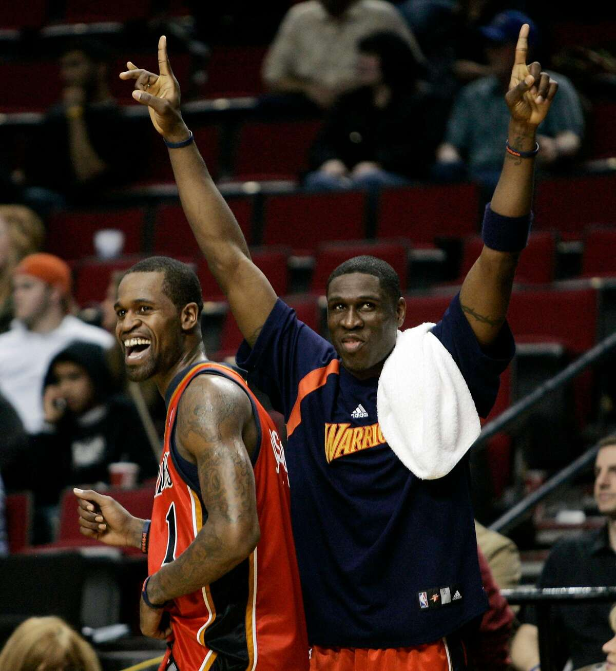 Golden State Warriors' Stephen Jackson, left, and Mickael Pietrus, of France, celebrate after the Warriors defeated the Portland Trail Blazers 120-98 on Wednesday, April 18, 2007, in Portland, Ore., clinching an NBA basketball playoff berth for the first time since 1994. Jackson led the Warriors with 31 points. (AP Photo/Don Ryan) Ran on: 04-19-2007 Stephen Jackson, left, and Mickael Pietrus celebrate the Warriors playoff-clinching win in the final game of the regular season. Ran on: 04-19-2007 Ran on: 04-19-2007 Stephen Jackson (left) and Mickael Pietrus celebrate the Warriors playoff-clinching win in the final game of the regular season.