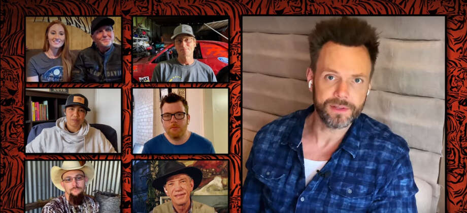 "Joel McHale conducts remote interviews with the cast of ""Tiger King."" Photo: Netflix / Handout"