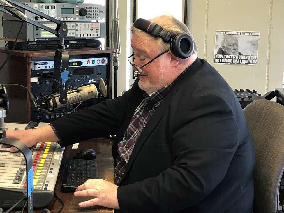 Bill McCann inside WCDB studios at the University at Albany Saturday, April 11, 2020. (Gary Hahn Times Union)