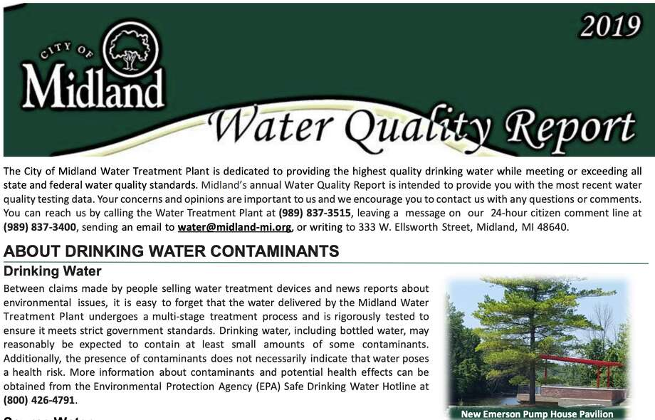 The City of Midland's most recent water quality report for 2019 is available online for residents and the public to view. Photo: Screenshot / Https://cityofmidlandmi.gov