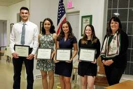 William Phelan, Joseph A. Foran High School; Andreina Barajas Novoa, Platt Technical High School; Kelly DeRosa, Lauralton Hall; Amelia Mower, Jonathan Law High School; and DAR Chairperson Elizabeth Keefe.