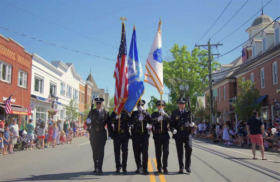 Darien's Memorial Day parade cancelation is a topic of discussion at Monday's Board of Selectmen meeting. Photo: Jarret Liotta /Hearst Connecticut Media /