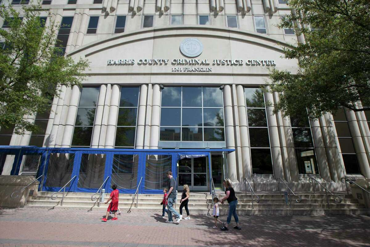 The Harris County Criminal Justice Center is pictured Thursday, March 12, 2020, in Houston.