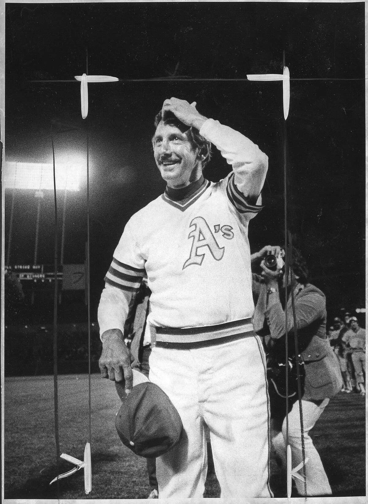 Oakland Athletics Manager Billy Martin gets a standing ovation after the A's game on Saturday, April 18, 1981, at the Oakland Coliseum in Oakland, Calif.