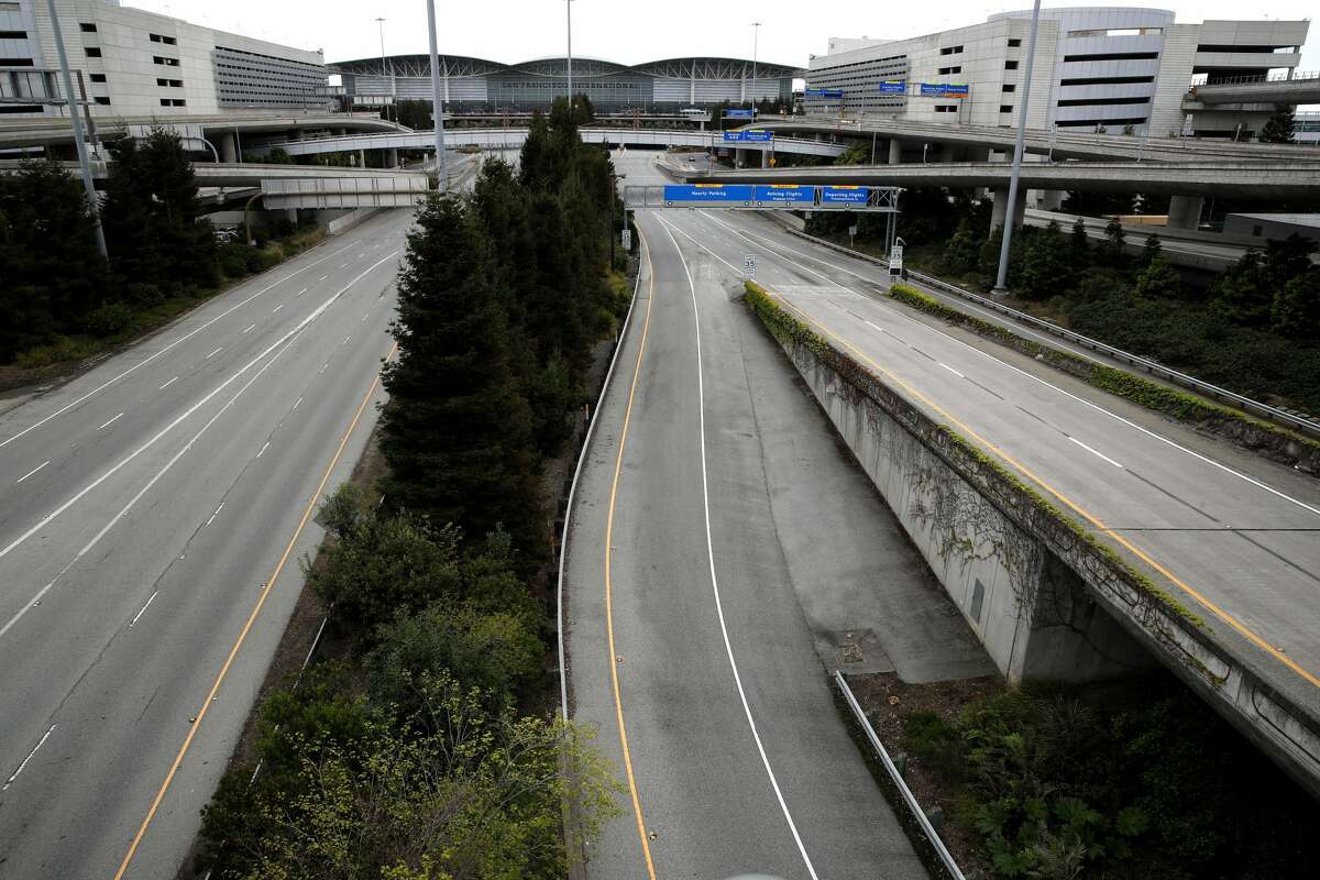 Roads leading to San Francisco International Airport are nearly empty on April 12, 2020 in San Francisco, California. San Francisco International Airport has a seen a huge decline in daily flights since the coronavirus shelter in place. United Airlines, the airport's largest carrier with the most daily flights with 290 flights per day before the start of the COVID-19 pandemic, has reduced their daily flights to 50 per day.