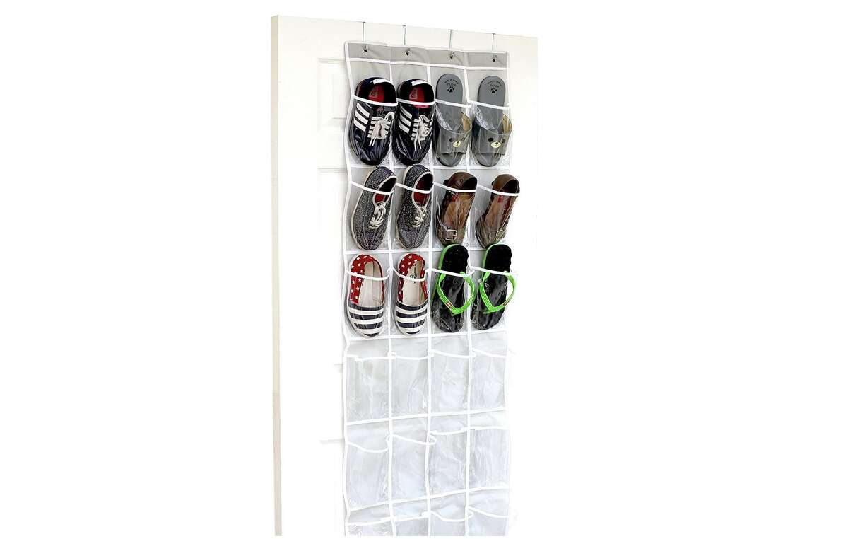 SimpleHouseware Crystal Clear Over The Door Hanging Shoe Organizer, $8.67