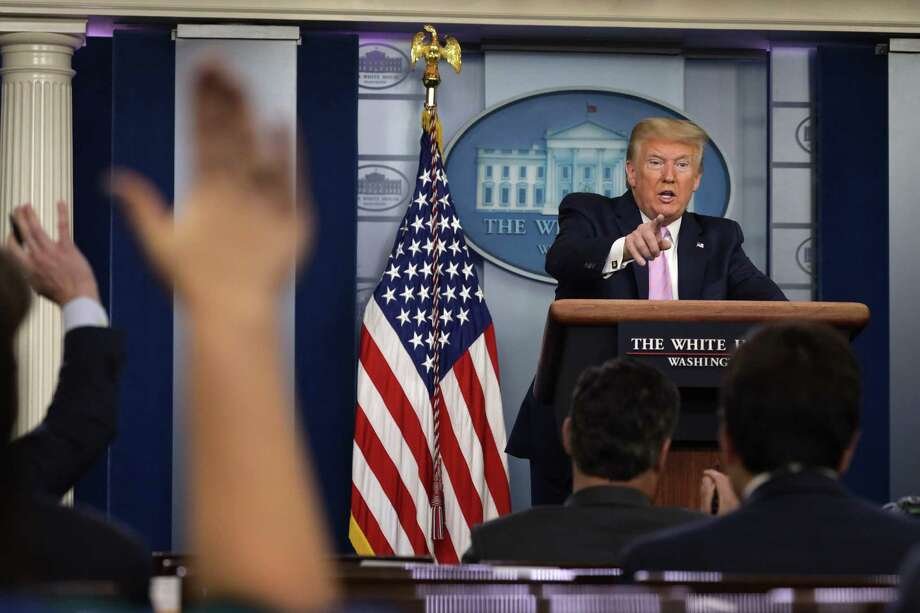 U.S. President Donald Trump takes questions during the daily briefing of the White House Coronavirus Task Force on April 10 at the White House. Photo: Alex Wong / Getty Images / 2020 Getty Images