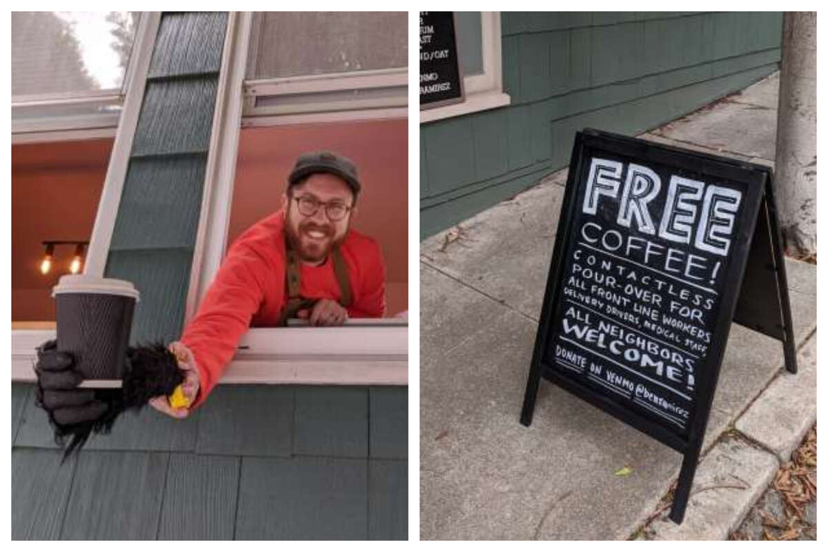 North Beach Resident Ben Ramirez has been handing out free coffee to local residents.