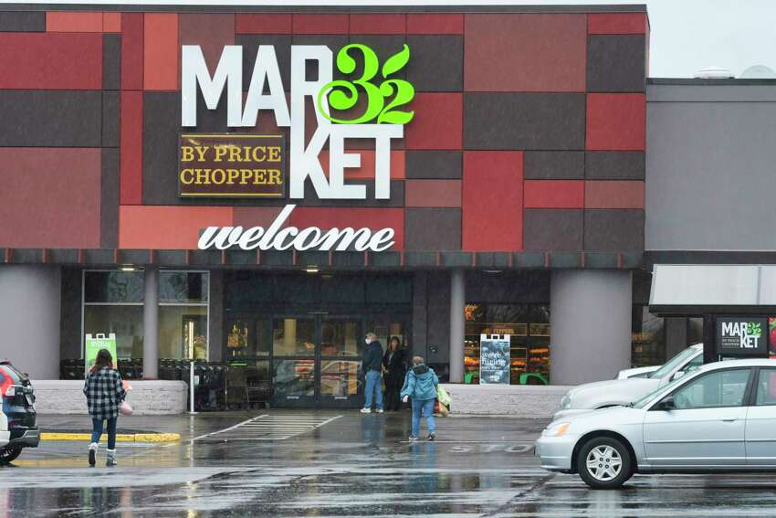 Customers make their way into a Market 32 store on Monday, April 13, 2020, in East Greenbush, N.Y. (Paul Buckowski/Times Union)