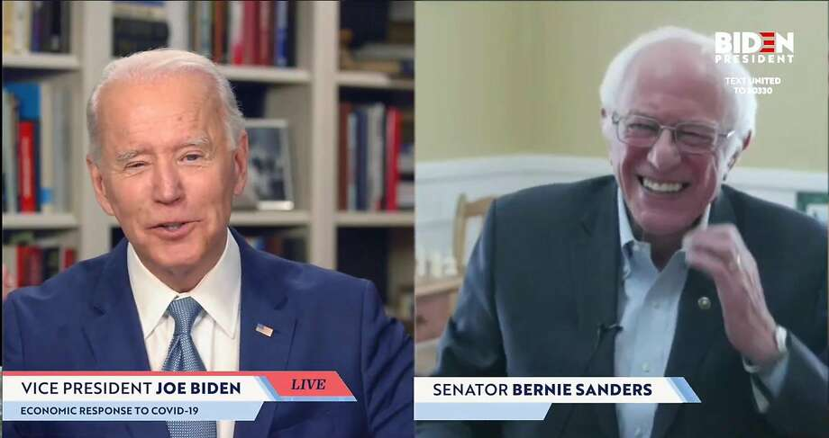 UNKNOWN LOCATION - APRIL 13:  In this screengrab taken from JoeBiden.com campaign website, U.S. Sen. Bernie Sanders (I-VT) endorses Democratic presidential candidate former Vice President Joe Biden during a live streaming broadcast on April 13, 2020. Sanders said,  Today, I am asking all AmericansIm asking every Democrat, Im asking every Independent, Im asking a lot of Republicansto come together in this campaign to support your candidacy.  (Photo by JoeBiden.com via Getty Images) *** BESTPIX *** Photo: Handout, Getty Images