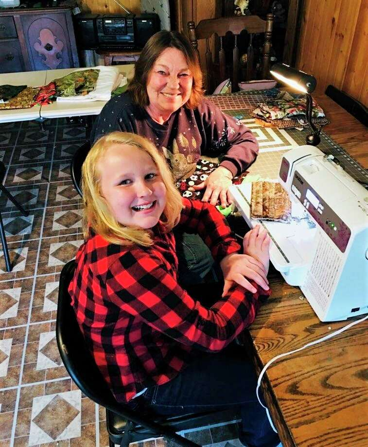 Learning to sew masks from her grandmother, Paris resident Lily Modene said she is very close with her grandma. (Courtesy photo)