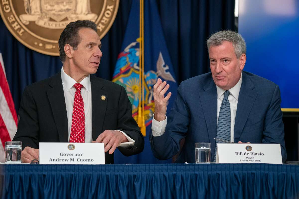 Gov. Andrew Cuomo and New York City Mayor Bill de Blasio at press conference in New York City on March 2, 2020.(Photo by David Dee Delgado/Getty Images)