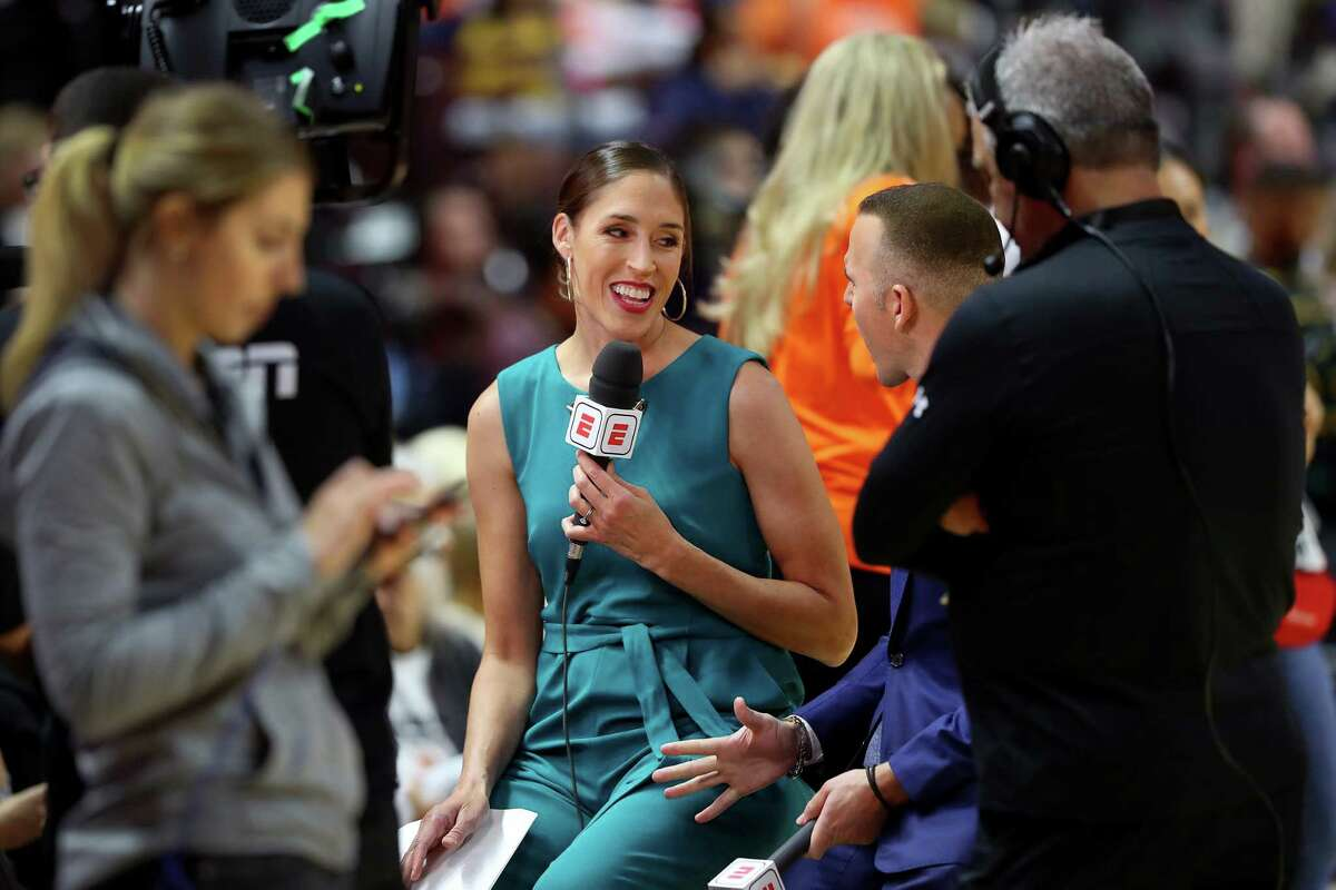 UNCASVILLE, CONNECTICUT - OCTOBER 08: Rebecca Lobo on camera for ESPN before Game Four of the 2019 WNBA Finals between the Washington Mystics and Connecticut Sun at Mohegan Sun Arena on October 08, 2019 in Uncasville, Connecticut.