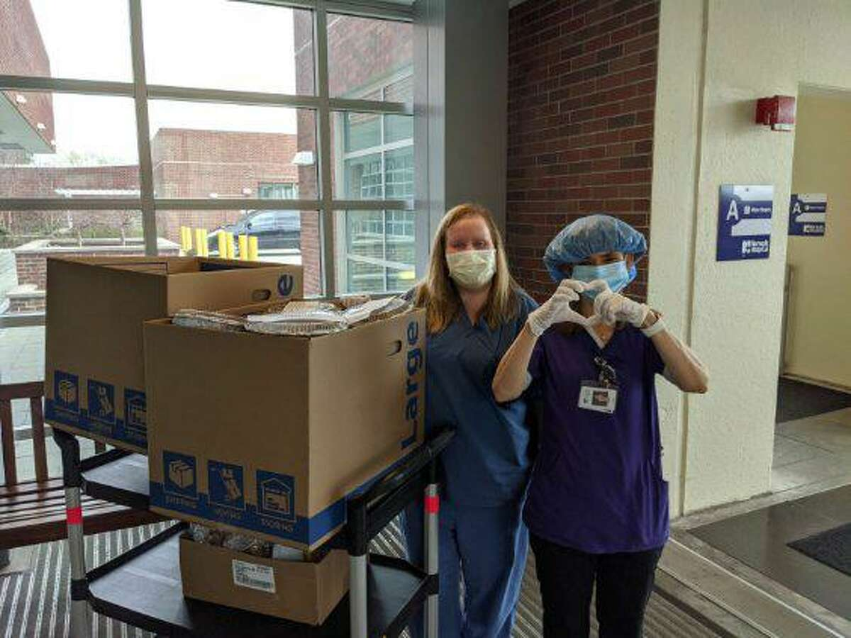 Norwalk Hospital staff thank students and families of Our Lady of Fatima Catholic Academy after the Wilton school had 100 dinners delivered on Easter Sunday.