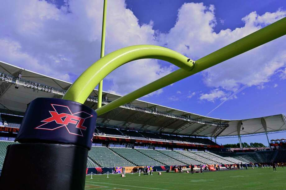 Goal post with XFL logo seen at Dignity Health Sports Park before the XFL game between the Los Angeles Wildcats and the Tampa Bay Vipers on March 8, 2020 in Carson, Calif. The XFL filed for bankruptcy on April 13, 2020, three days after it suspended its operations. Photo: John McCoy / TNS / Getty Images North America
