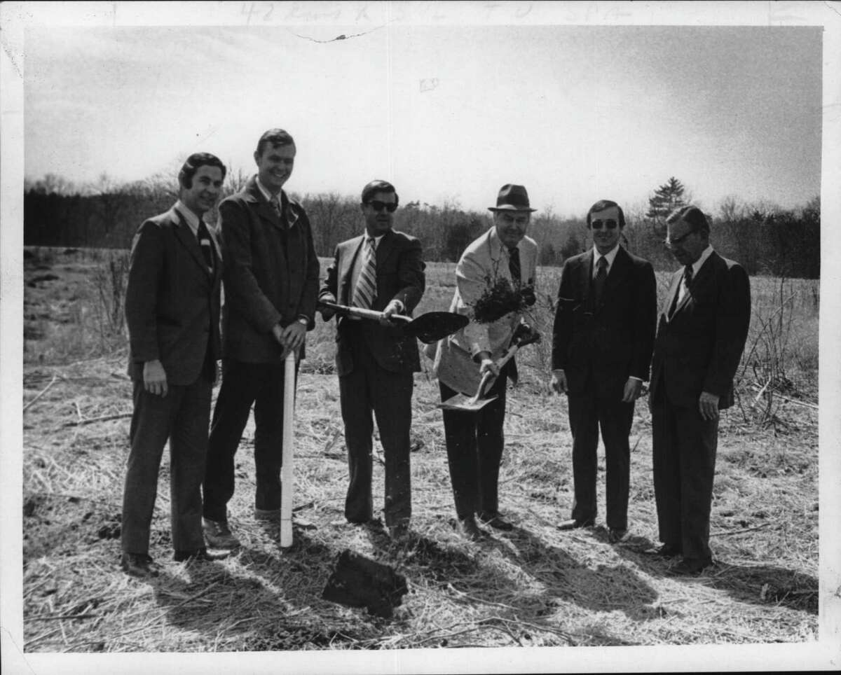 Back this month in 1972, ground was being broken for the Clifton Mall shopping center. Seen are Louis J. Zoghby, Clifton Park developer; Allan Cruickshank, engineer; Albin A. Roth, architect; John Reilly, deputy supervisor; and T. Francis Connery, vice president of Bankers Trust. (Times Union archive)