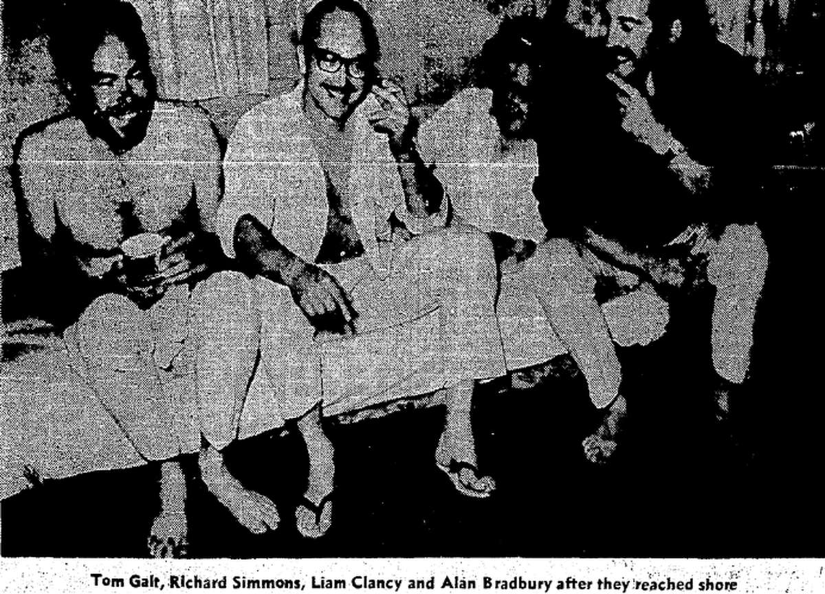 This copy of a photo that ran with a Sept. 23, 1969, story in the San Francisco Chronicle, about the dramatic rescue of five men whose sloop sunk about three miles off the the Golden Gate. The man in the middle is Richard