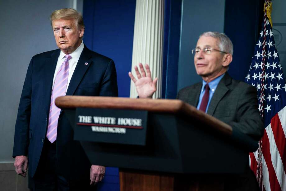 Director of the National Institute of Allergy and Infectious Diseases Anthony Fauci, right, and President Donald Trump are shown during a briefing on coronavirus at the White House on April 10, 2020 in Washington. MUST CREDIT: Washington Post photo by Jabin Botsford Photo: Jabin Botsford, The Washington Post / The Washington Post / The Washington Post
