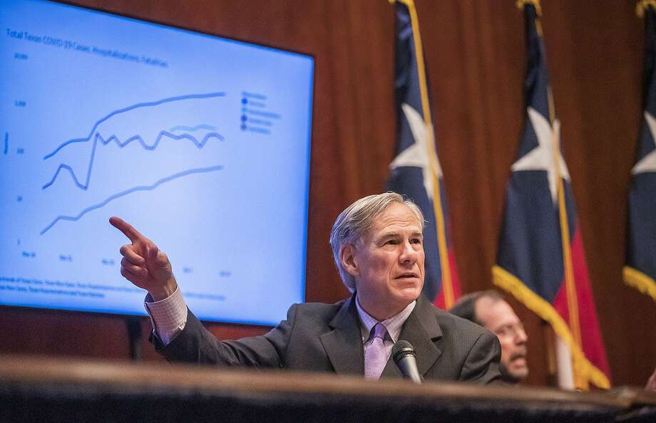 Texas Gov. Greg Abbott expressed optimism during a coronavirus news conference, Friday, April 10, 2020, in Austin, Texas. Abbott also said the state's death toll was lower than many other states. (Ricardo B. Brazziell/Austin American-Statesman via AP) Photo: Ricardo B. Brazziell, Associated Press