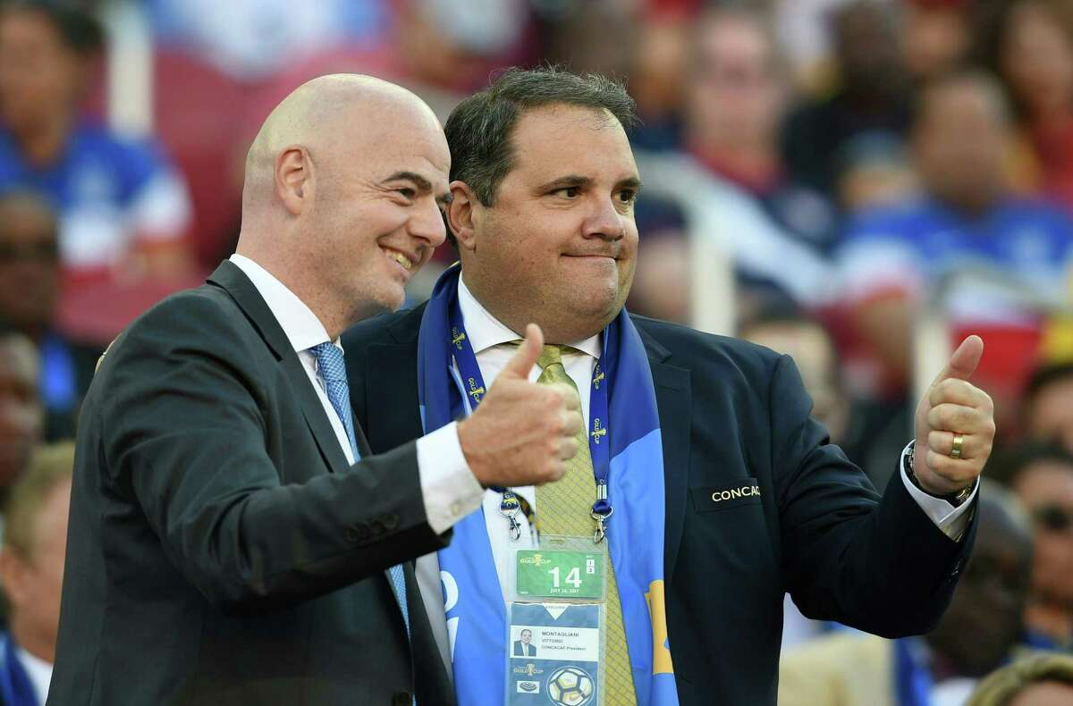 FIFA President Gianni Infantino (L) and CONCACAF President Victor Montagliani pose for a photo before the final football game of the 2017 CONCACAF Gold Cup against Jamaica at the Levi's Stadium in Santa Clara, California on July 26, 2017. / AFP PHOTO / Robyn BeckROBYN BECK/AFP/Getty Images ORG XMIT: Soccer- C