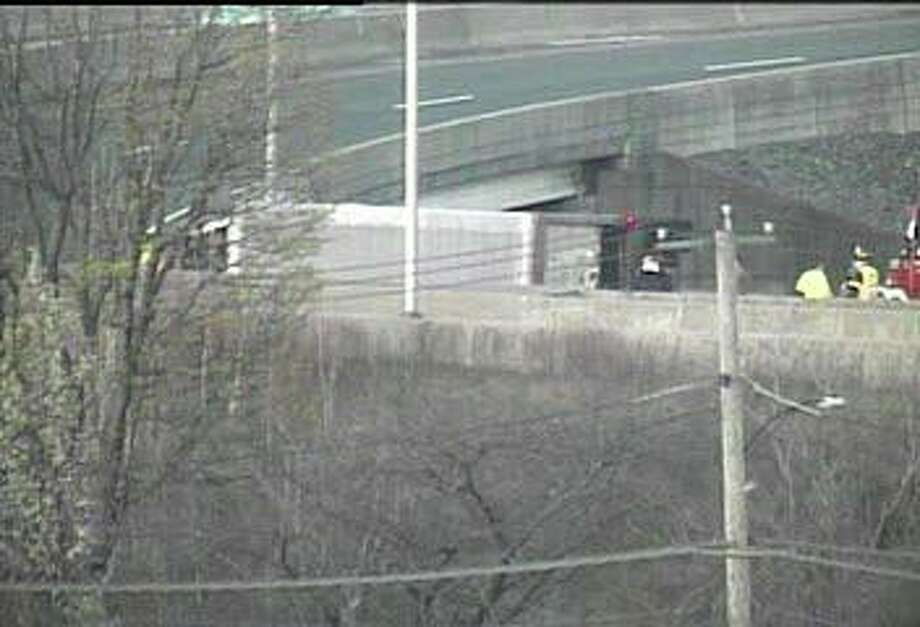 An overturned truck has closed the Exit 27A ramp from northbound I-95 in Bridgeport Tuesday morning on April 14, 2020. Photo: DOT Traffic Cam