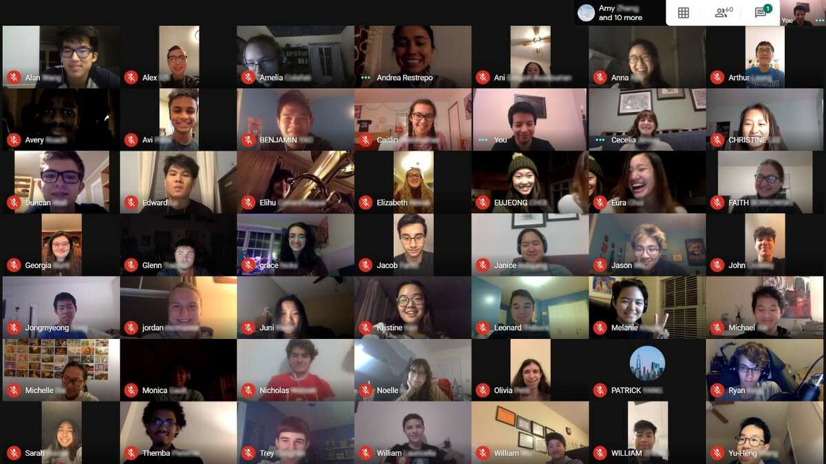 All 99 members of ESYO's Symphony Orchestra met online with Music Director Carlps Ágreda using Google Classroom on April 7, 2020. (Photo from Empire State Youth Orchestra)