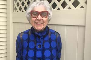 Hedi McKinley outside her apartment in Beverwyck, two weeks before her 100th birthday on April 15, 2020.