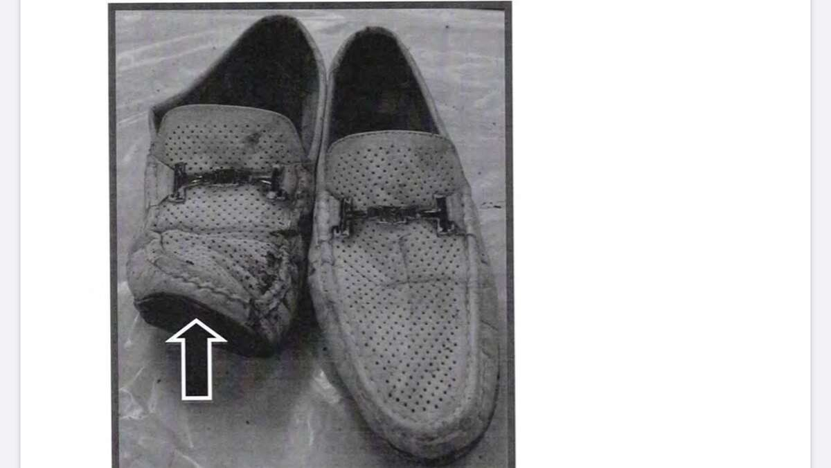 A photo of the loafers of Scott Lisinicchia, the driver in the 2018 Schoharie limo crash that killed 20 people, including Lisinicchia. Investigators say the photo shows how Lisinicchia tried in vain to stop the stretch Ford Excursion limo he was driving as the brakes completely failed coming down a steep section of Route 30 into the parking lot of the Apple Barrel Country store at the intersection with Route 30A. A State Police report concluded the brakes failed do to the lack of maintenance by its owners, the Hussain family of Wilton.