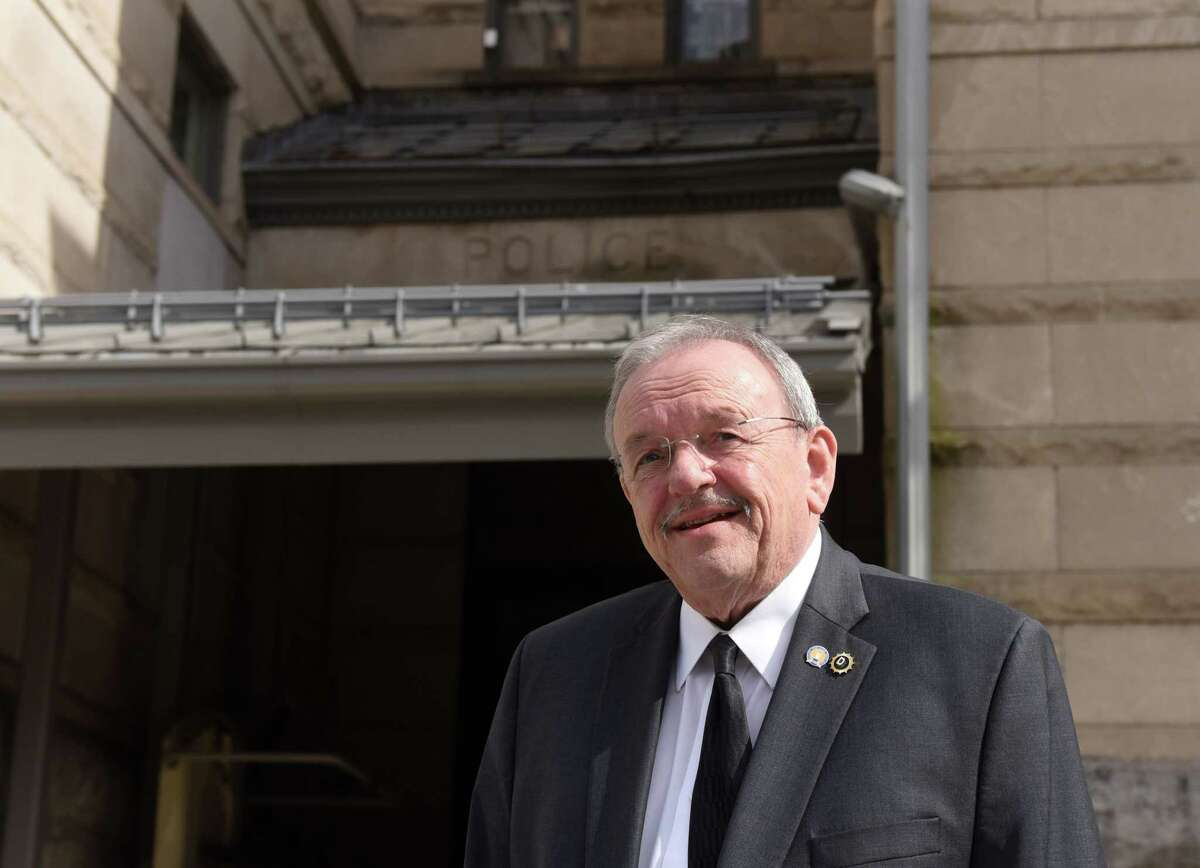 Acting Cohoes Police Chief Tom Ross is pictured outside the station on Tuesday, April 14, 2020, in Cohoes, N.Y. He's planning to retire after 50 years. (Will Waldron/Times Union)